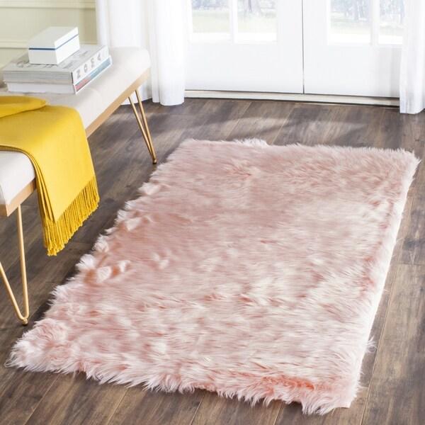 Safavieh Handmade Faux Sheepskin Pink Japanese Acrylic Rug (2' 6 x 4') 22027106