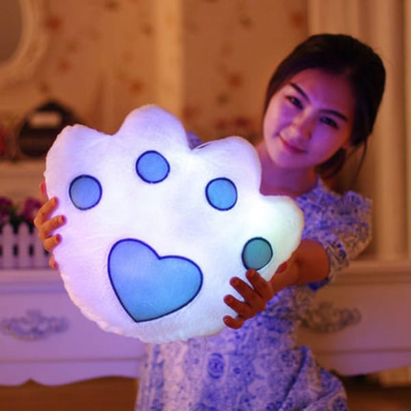 The Illuminator White Paw Cotton Color-changing LED Light-up Plush Pillow