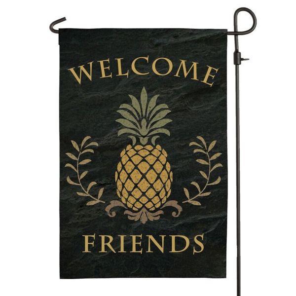 """Welcome Friends"" Black Garden Flag"