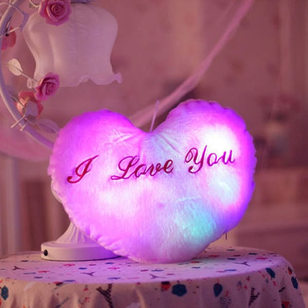 The Illuminator Purple Heart Cotton Color Changing LED Light Up Plush Pillow