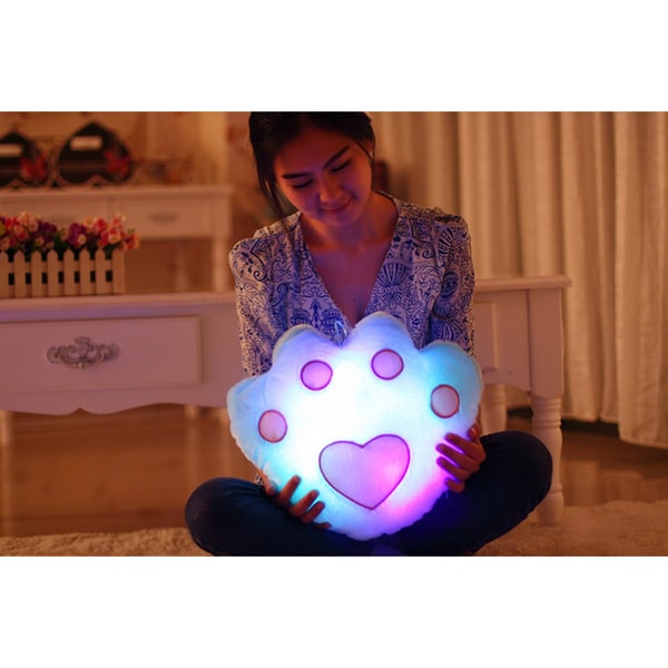 The Illuminator Blue Paw Cotton Color-changing LED Light-up Plush Pillow