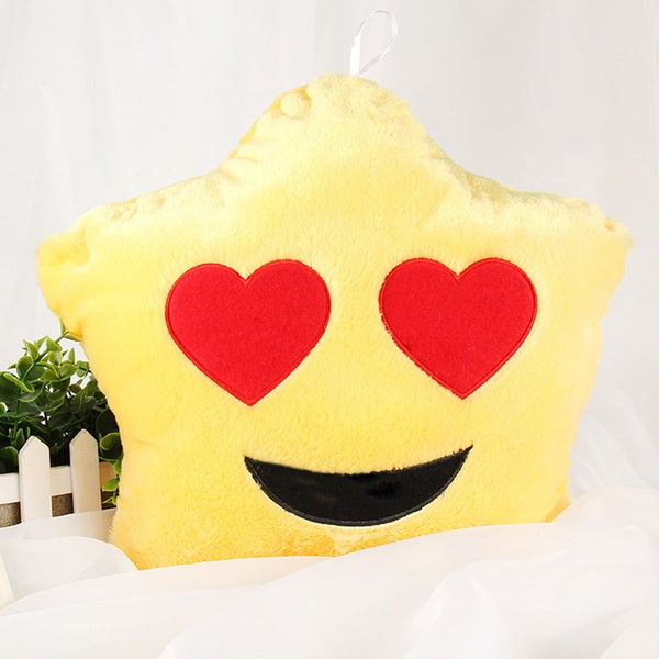 Yellow Heart Eyes Color Changing LED Plush Emoji Pillow