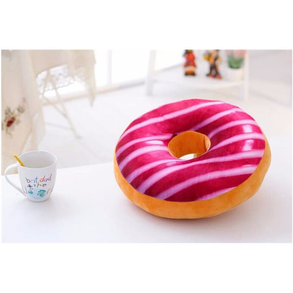 Strawberry Storm Donut Replica 16-inch Plush Decorative Pillow