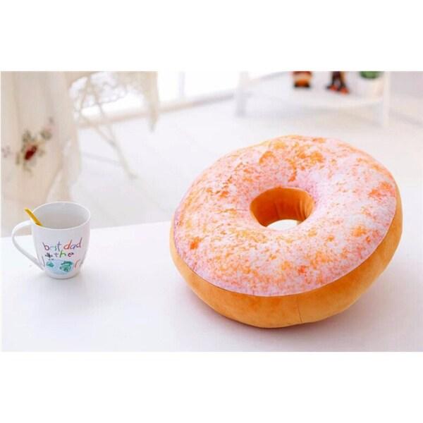 Plush Donut Replica Original Taste 16-inch Decorative Pillow