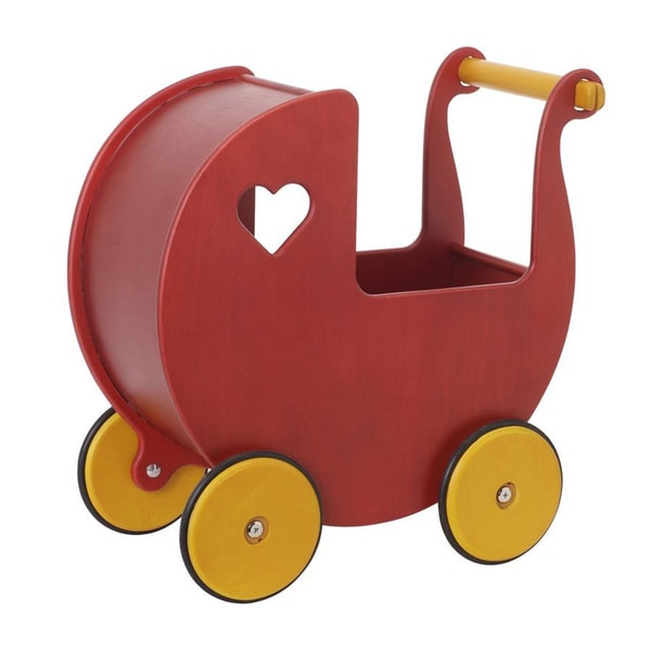 Haba Moover Red Wood Mini Dolls Pram