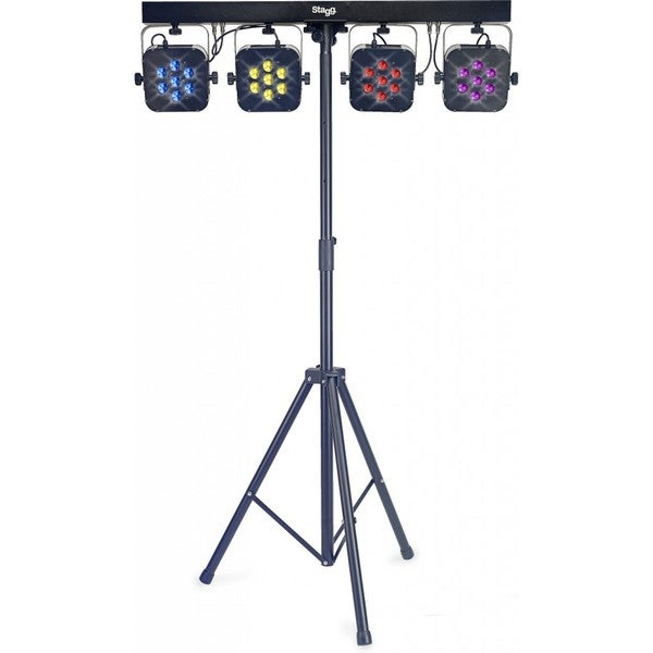 Stagg Black Aluminum Flat Lighting Set with 4 Spotlights, Stand, and Foot Controller