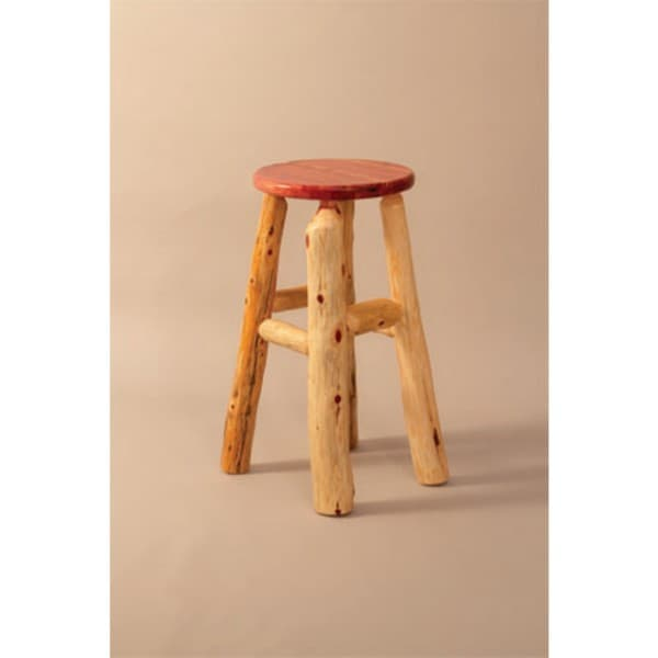 RUSTIC RED CEDAR LOG STOOL