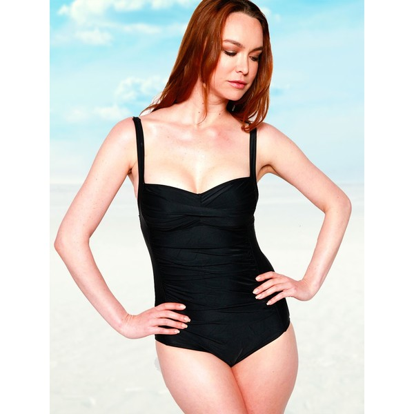 Women's Shirred Black Spandex One Piece Swimsuit 22034891