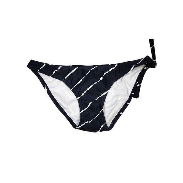 Women's One Side Diagonal Black Spandex Tie Bottom Swimsuit 22034976