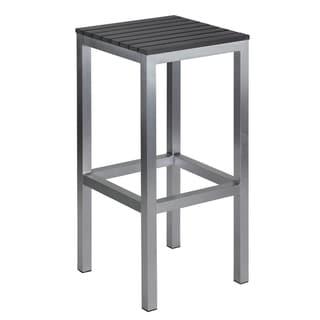 Knotts Brushed Aluminium Slate Grey Polyethylene/ Aluminum Outdoor Backless Barstool by Havenside Home
