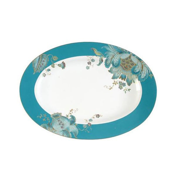 222 Fifth Eliza Teal Porcelain 14-inch Oval Platter