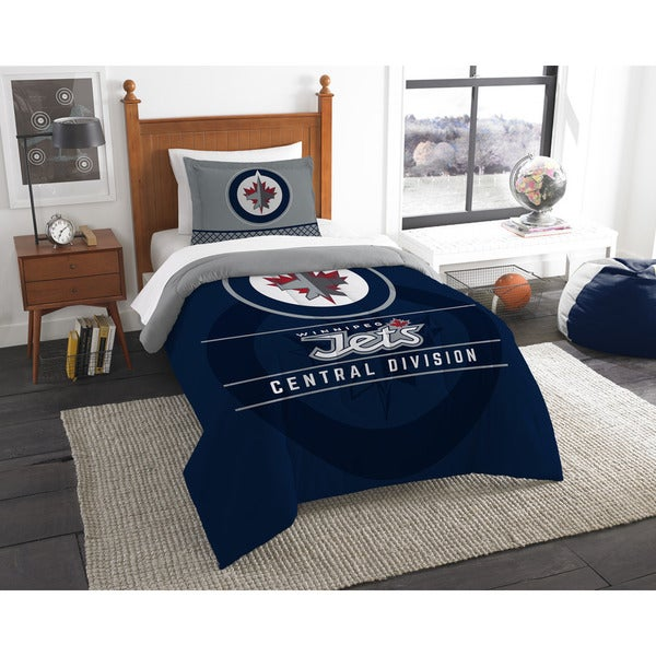 NHL 86201 Winnipeg Jets Draft Twin 2-piece Comforter Set