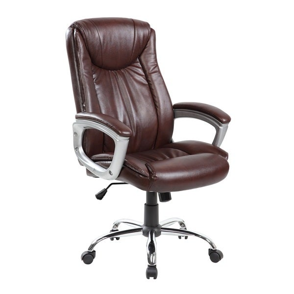 Brown Faux Leather, PVC, and Chrome Executive Mid-back Thick Padded Office Chair