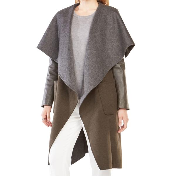 BCBG Max Azria Vivienne Olive Wool Wrap Coat