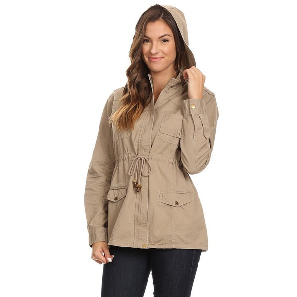 Women's Solid Khaki Cotton Utility Jacket with Hoodie