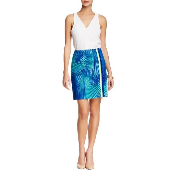 Elie Tahari Elva Blue Floral Cotton Mini Skirt