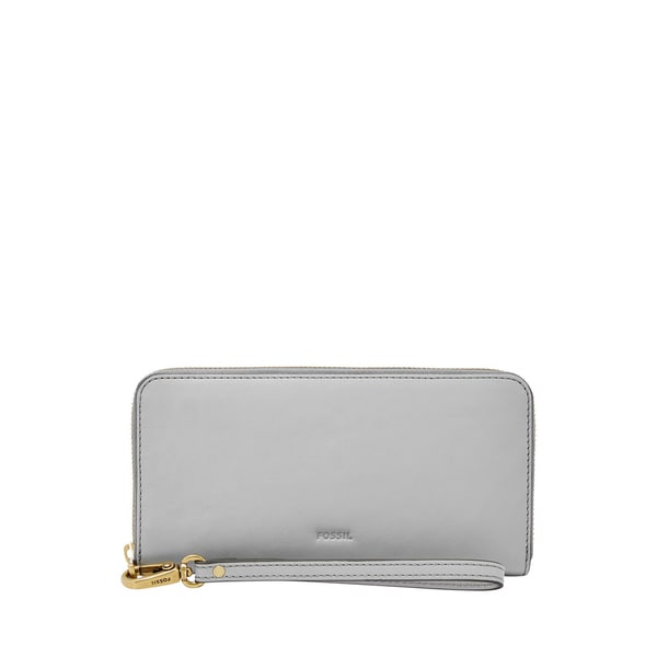 Fossil Emma Iron Grey Leather RFID Large Zip Clutch Wallet