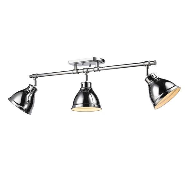Golden Lighting Duncan Chrome Three-light Semi-flush Track Light With Chrome Shades 22044440