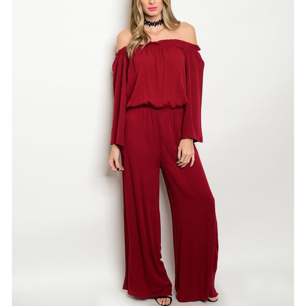 JED Women's Burgundy Viscose Off-shoulder Elastic-waist Jumpsuit