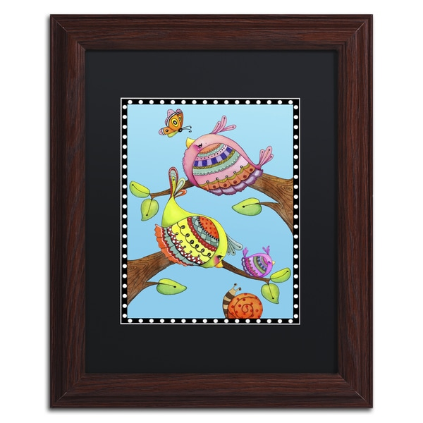 Jennifer Nilsson 'Birds Trio Branch' Matted Framed Art 22044816