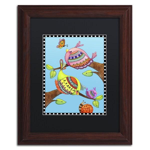 Jennifer Nilsson 'Birds Trio Branch' Matted Framed Art 22044817