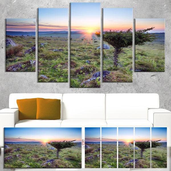 Designart 'Sunset on Bodmin Moor' Landscape Wall Art Print Canvas