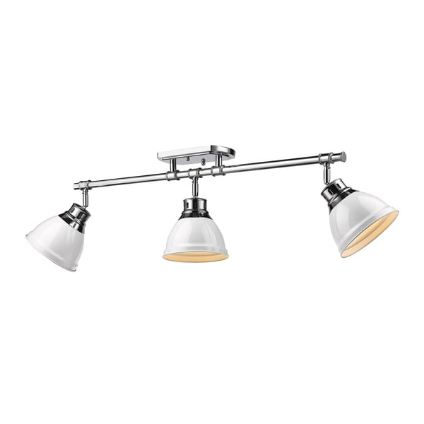 Golden Lighting Duncan Chrome Three-Light Semi-Flush Track Light With White Shades 22045619