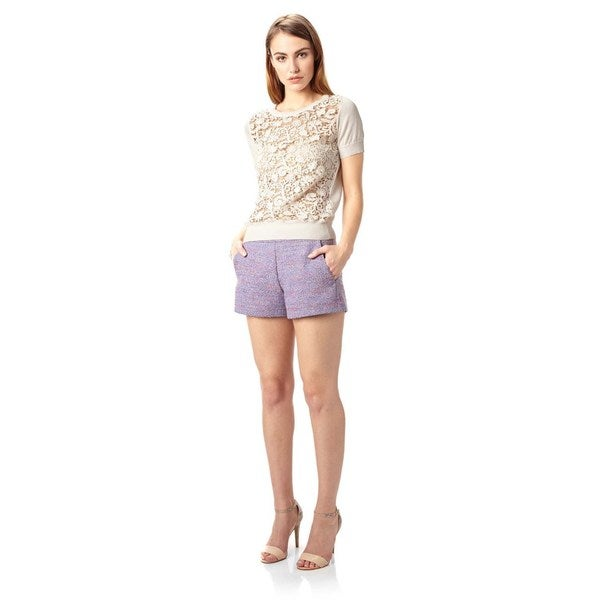 French Connection Women's T-Lover White Cotton-blend Crochet Sweater