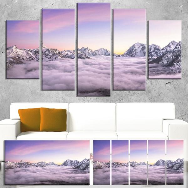 Designart 'Clouds Sunrise Ama Dablam' Landscape Wall Art Print Canvas