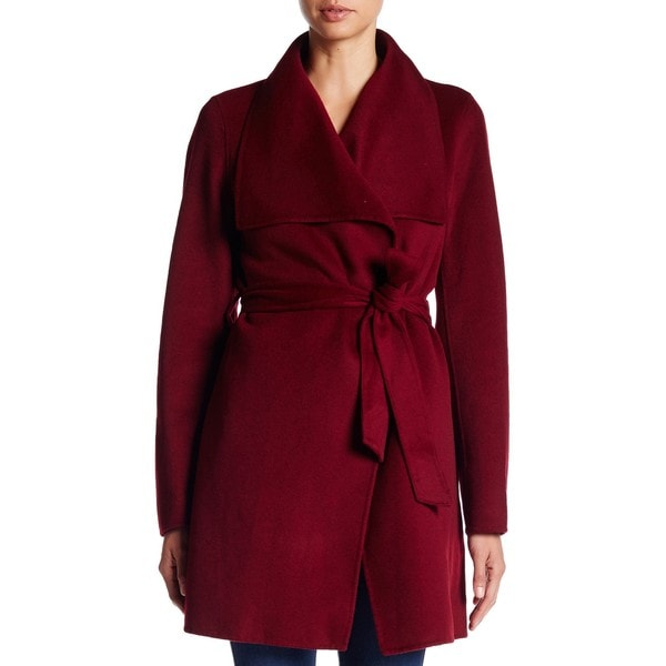 T. Tahari Women's Ella Burgundy Wool Wrap Coat