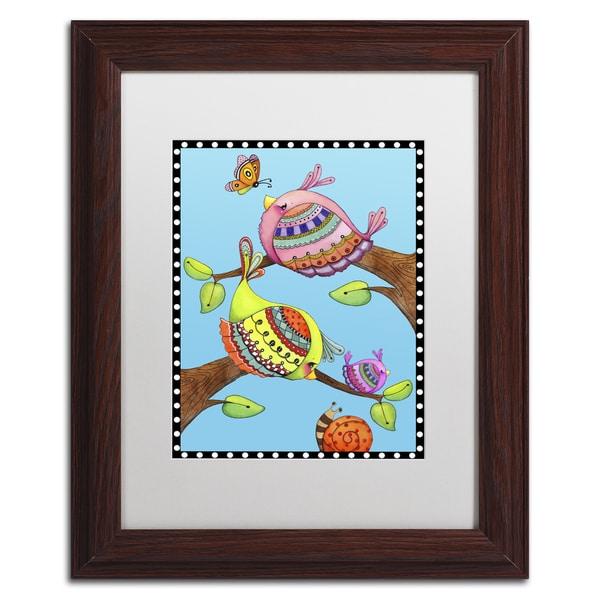Jennifer Nilsson 'Birds Trio Branch' Matted Framed Art 22046929