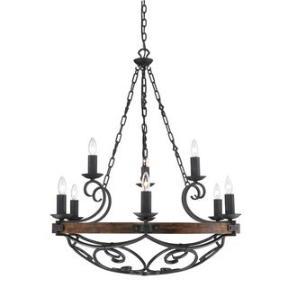 """Madera 9-Light 2-Tier Chandelier with Wood and Black Iron Finish - 34.5"""" W x 41"""" H"""