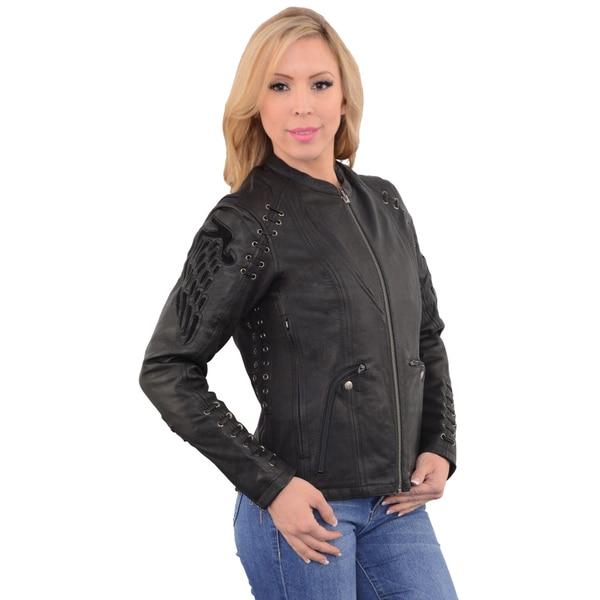 Women's Black Leather, Lace, and Grommets Lightweight Scuba Racer Jacket 22047341