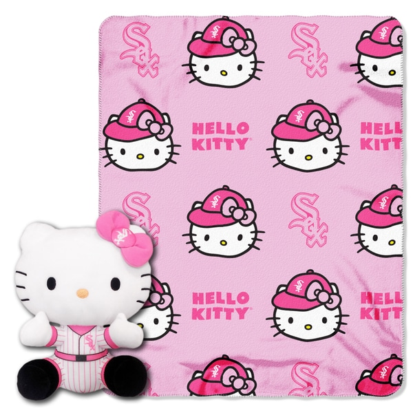 COK 027 White Sox White/Pink Polyester Hello Kitty Pillow and Throw Set