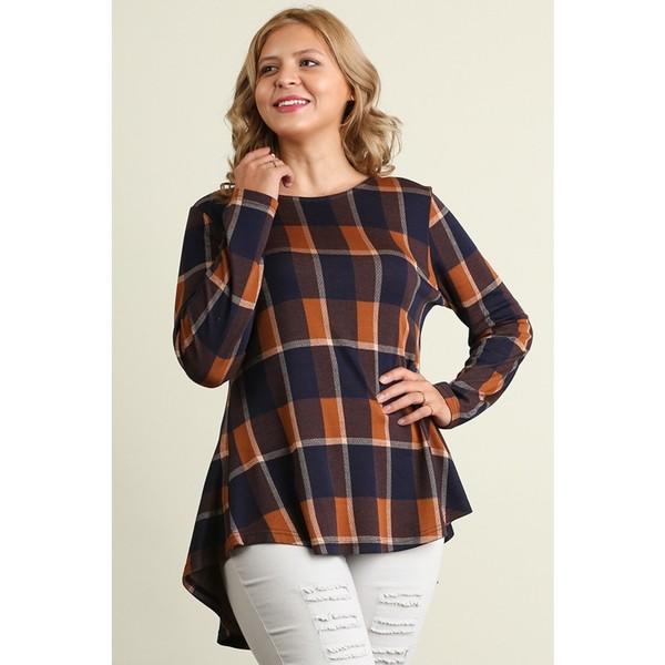 Women's Camel Cotton Plus-size Plaid Hi Low-Hem Peplum Top