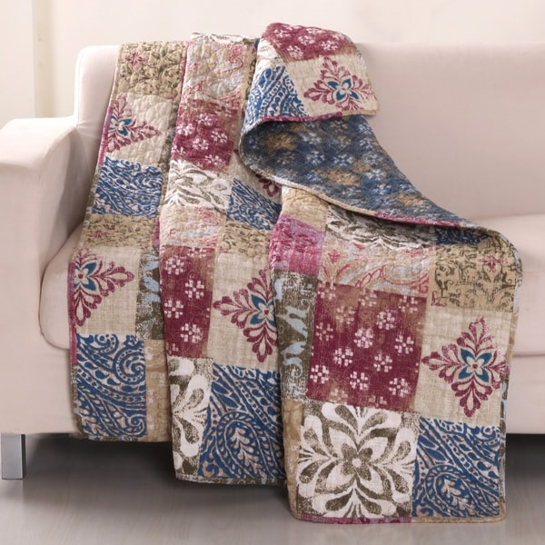 Charmed Cranberry 100%-Cotton Reversible Quilted Throw