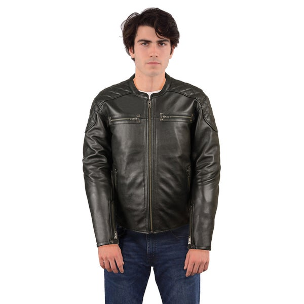Men's Black Leather Triple Stitch Beltless Biker Jacket