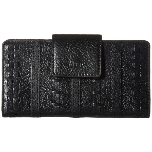 Fossil Emma Black Leather RFID Tab Clutch Wallet