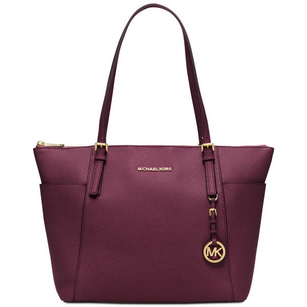 Michael Kors Purple Leather Zip Top Tote Bag