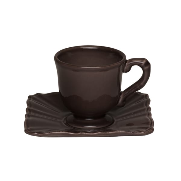 Dark Brown Espresso Cups and Saucers (Set of 4)