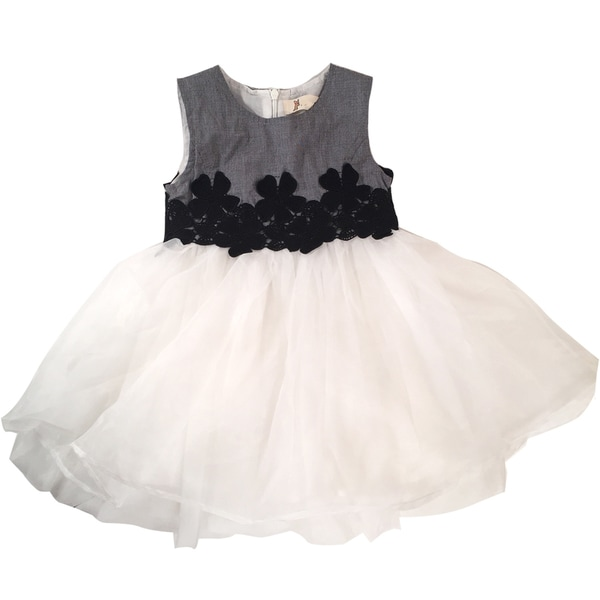 Haley Boutique Girl Black/White Polyester/Spandex Embroidered Flowers Tulle Dress