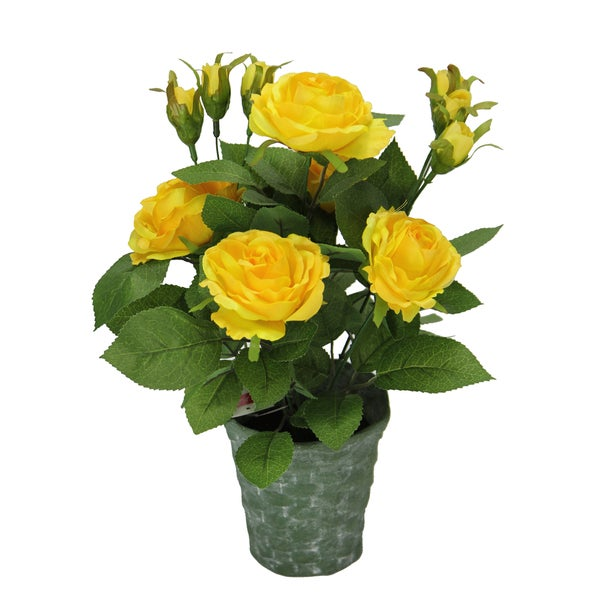 Admired by Nature Yellow Rose 13-inch Tall Artificial Potted Plant with Greenery