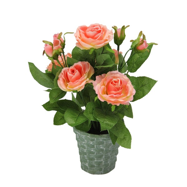 Admired by Nature Coral Artificial/Ceramic 13-inch Tall Potted Rose Plant with Geenery