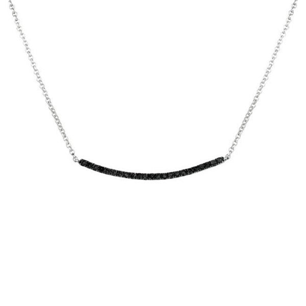 Sterling Silver 1/4ct TDW Black Diamond Curved Trapeze 17-inch Necklace