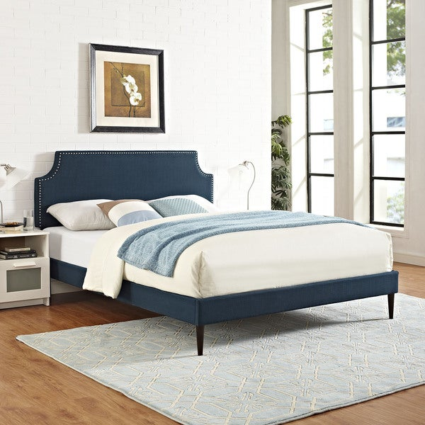 Laura Fabric Platform Bed with Round Tapered Legs in Azure