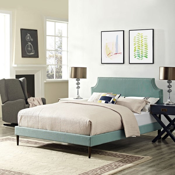 Laura Fabric Tapered Legs Laguna Blue Platform Bed