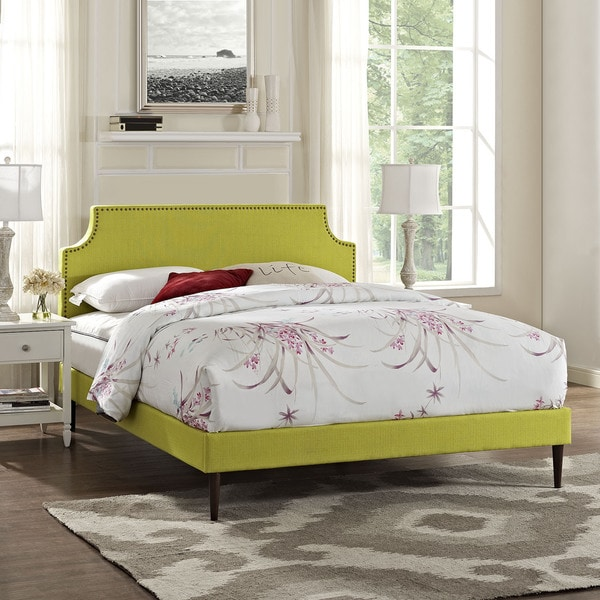 Laura Wheatgrass Green Fabric Platform Bed with Round Tapered Legs 22053889
