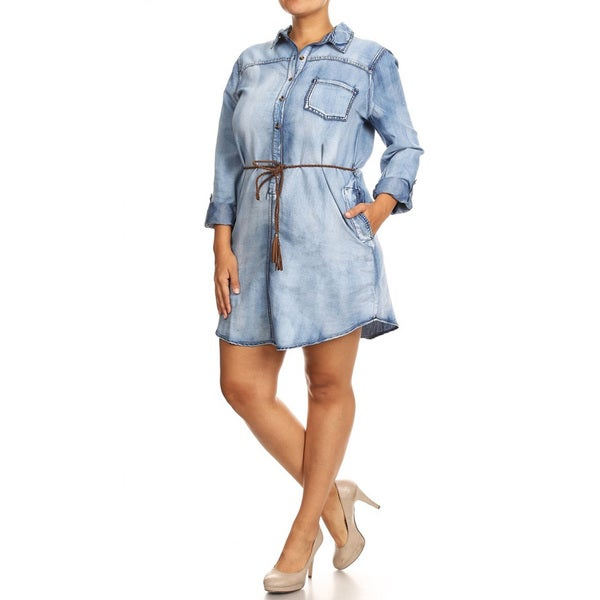 Women's Blue Denim Plus-size Shirt Dress