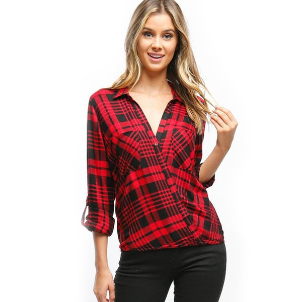Women's Red Rayon Blend Button Front Top