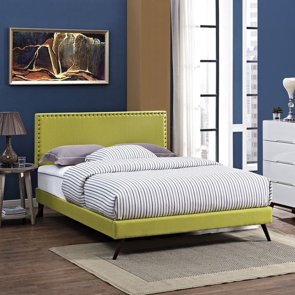 Phoebe Fabric Platform Bed with Round Splayed Legs in Wheatgrass